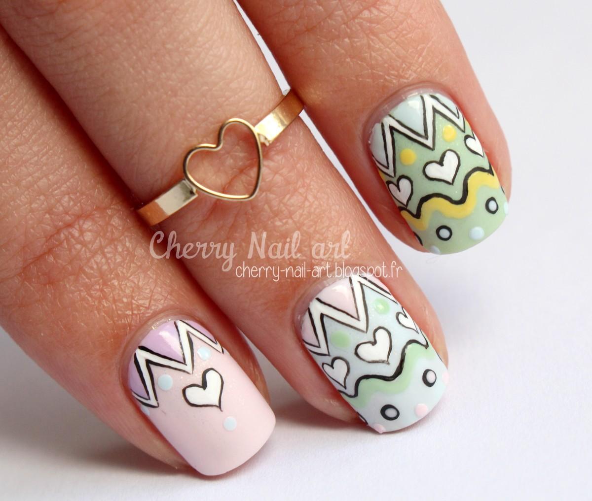 nail art paques pastel et coeurs