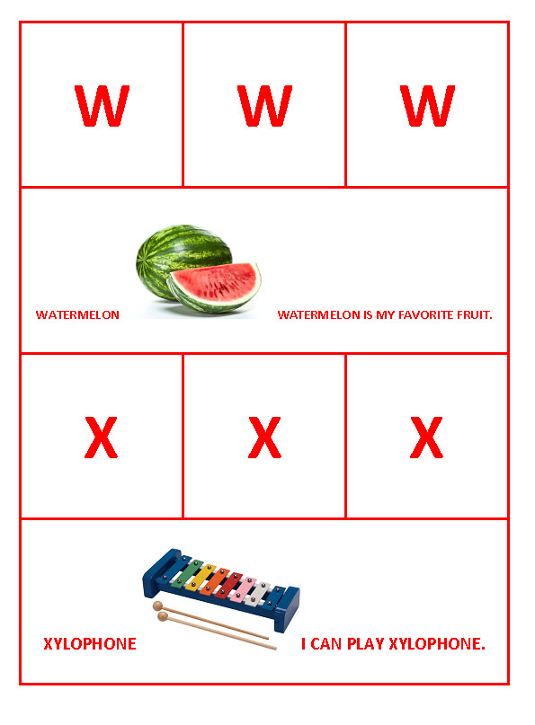 W for Watermelon and X for Xylophone