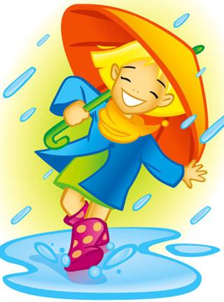 W czasie deszczu dzieci się bawią