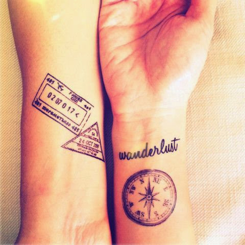 ♥ ♫ ♥ 5pcs Set Travel Collection Vintage Compass Wwanderlust Stamp Map tattoo - InknArt Temporary Tattoo - wrist quote tattoo body sticker fake ♥ ♫ ♥