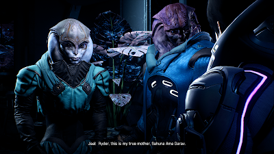 Screenshot of Ryder meeting Jaal's mother from Mass Effect: Andromeda