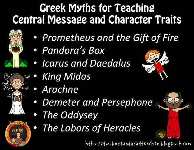 titles of Greek myths used