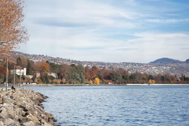 Lac Léman en automne à Lausanne