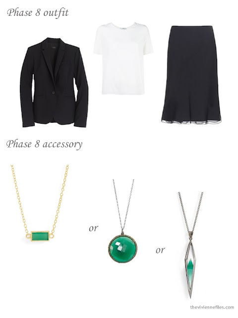 How to add a green pendant to a business capsule wardrobe
