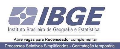 Processo Seletivo IBGE Inscrições Recenseador Complementar