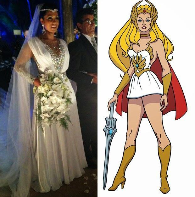Mulher Moranguinho vestido de Noiva