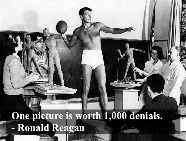 A young Ronald Reagan poses in swimming trunks for a sculpture class. Dad Pants and other stories of Reagan. marchmatron.com