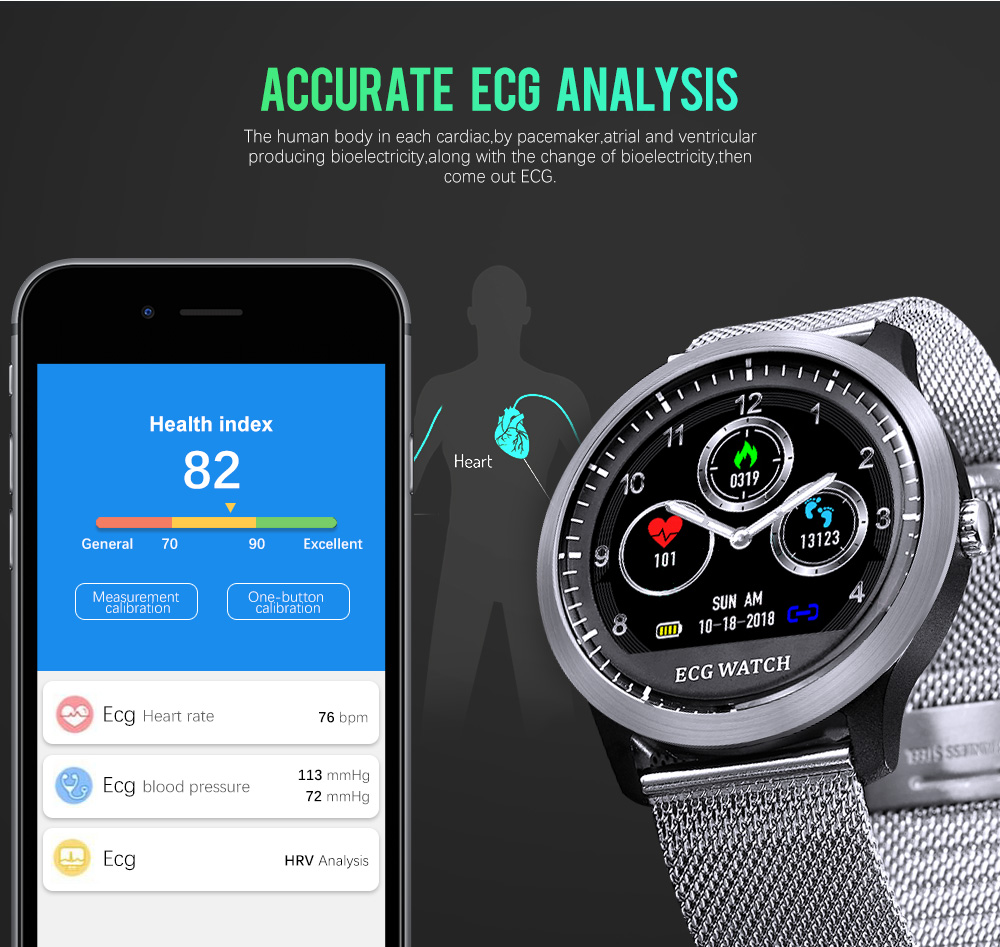 N58 Ecg Ppg Smart Watch With Electrocardiograph Ecg Display Heart Rate Monitor Blood Pressure Mesh Steel Smartwatch Beautiful In Colour Men's Watches Digital Watches