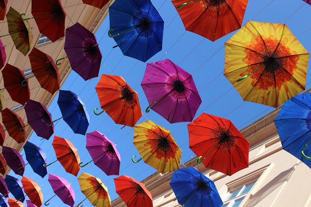 Umbrella Street installation in Bath