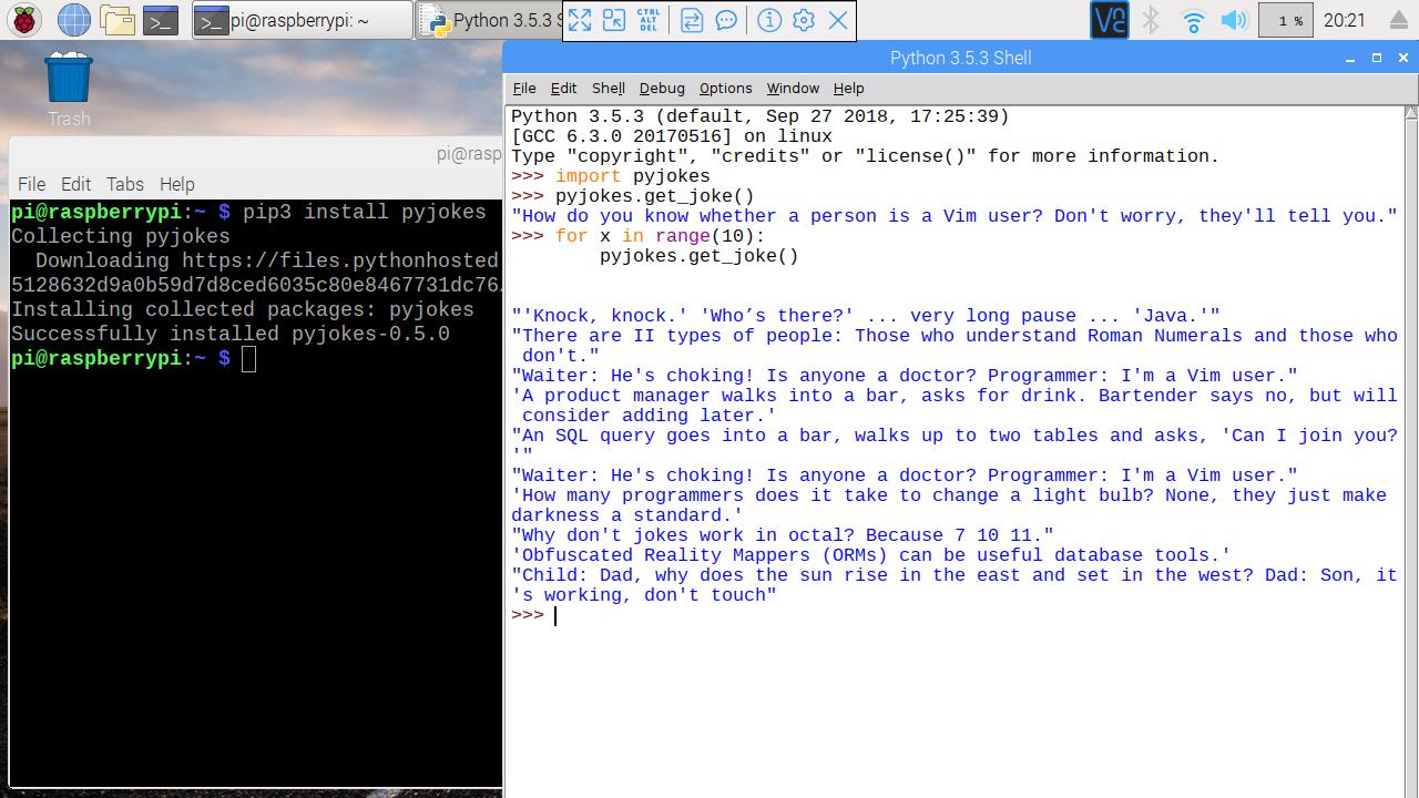 Hello Raspberry Pi: A funny python library: pyjokes