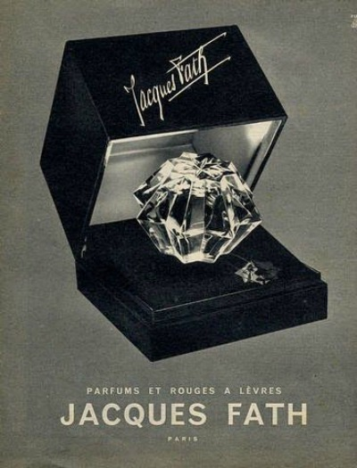 Ad showing bottle of Jacques Fath Parfum