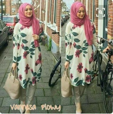 Jual Plus Jilbab / Kerudung 3 In 1 Vanessa Hijab Flowres - 12306