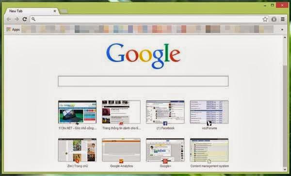 Khôi phục New Tab của Google Chrome về trạng thái ban đầu