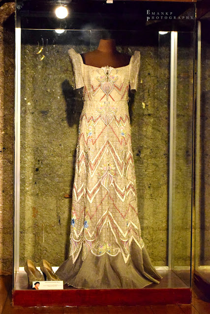Imelda's floor-length gown: She allegedly left behind 508 pieces of dresses similar to this.