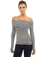 Black and white striped sexy off the shoulder long sleeve top