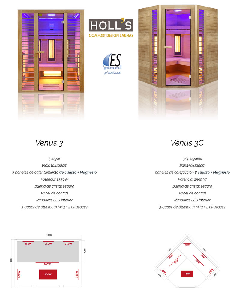 Modelos de sauna Venus de Holl´s de Espool Piscinas