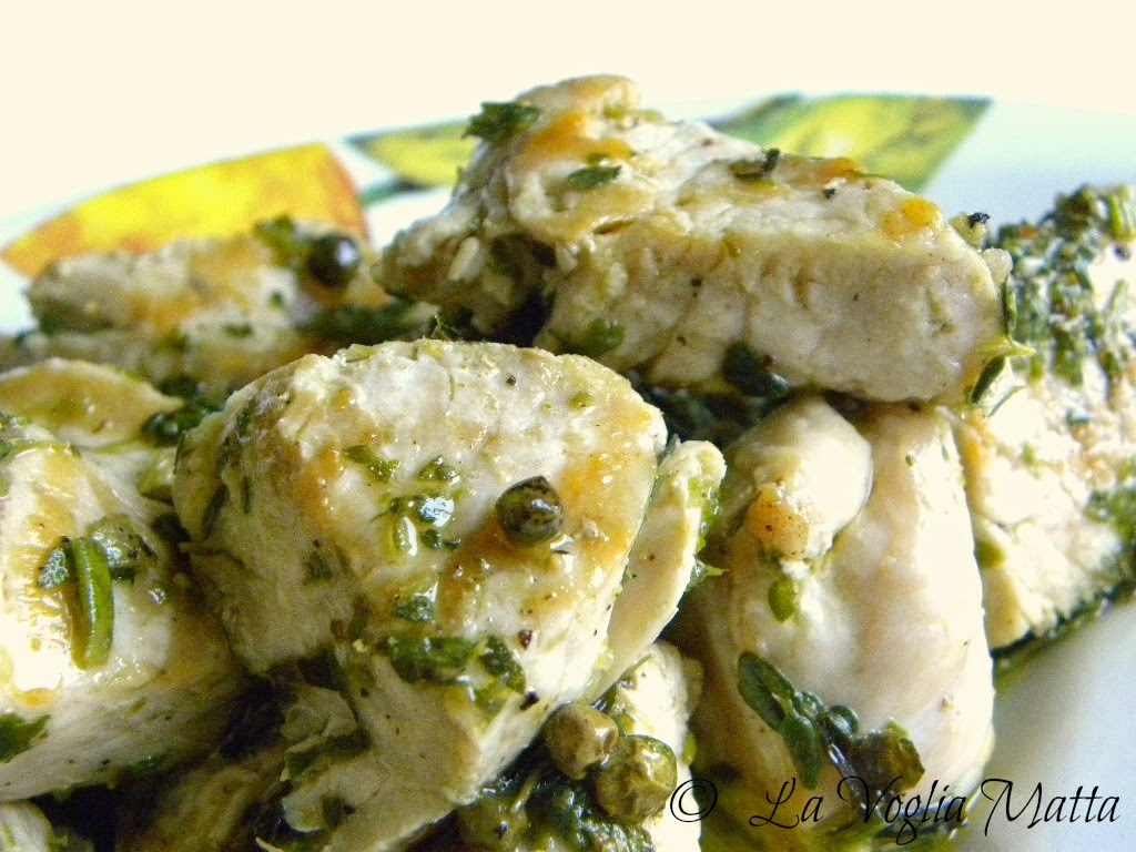 pollo marinato con capperi