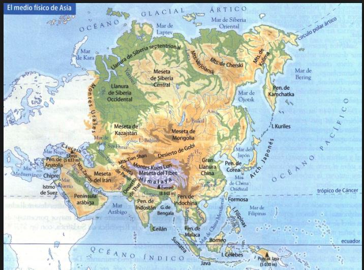 Montes Altai Mapa Fisico.Mapa De Asia