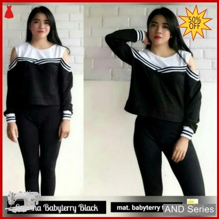 AND152 Sweater Wanita Sabrina Babyterry Hitam BMGShop