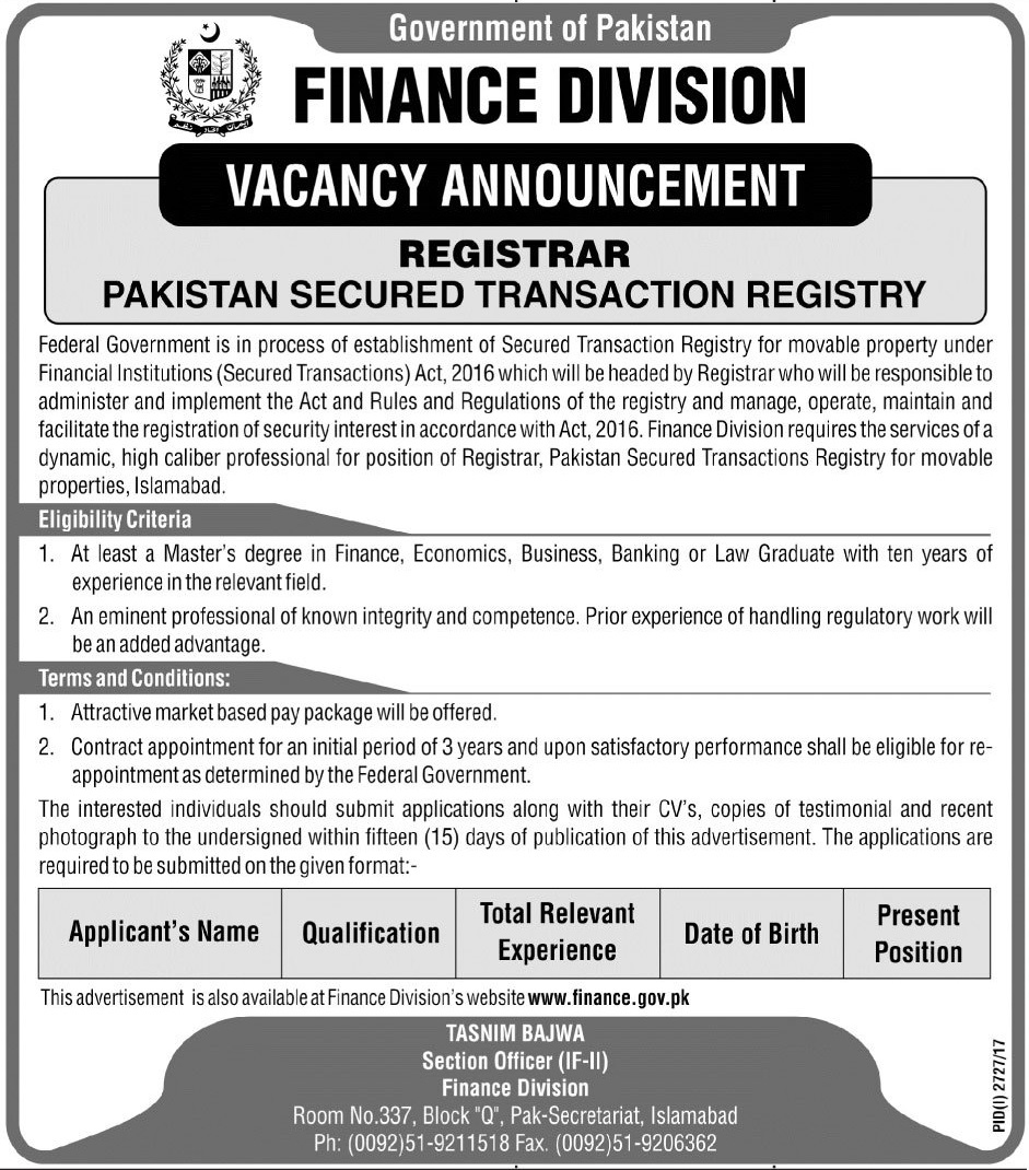 Registrar  Jobs In Finance Division Islamabad  Nov 2017