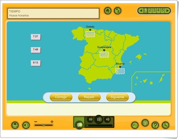 """Tiempo: """"Los husos horarios"""" (Aplicación interactiva de Ciencias Sociales de Primaria)"""