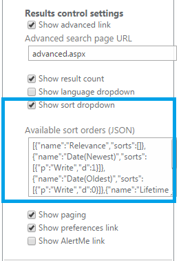 Enable Sort Option in Search Result Page Share Point 2013