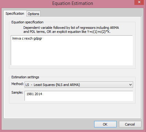 EViews Estimation Equation Dialog Box from cruncheconometrix.com.ng