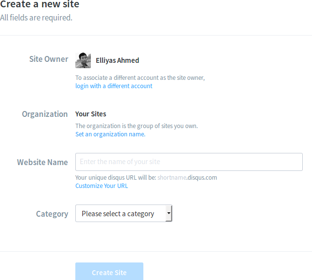 Create a new site on Disqus
