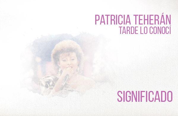 Tarde Lo Conocí significado de la canción Patricia Teherán.