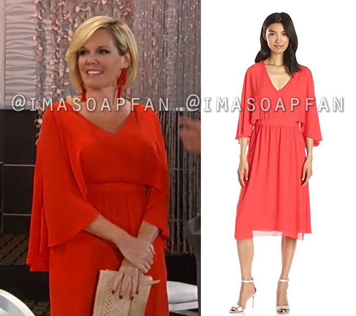 Ava Jerome, Maura West, Red V-neck Cape Dress, General Hospital, GH