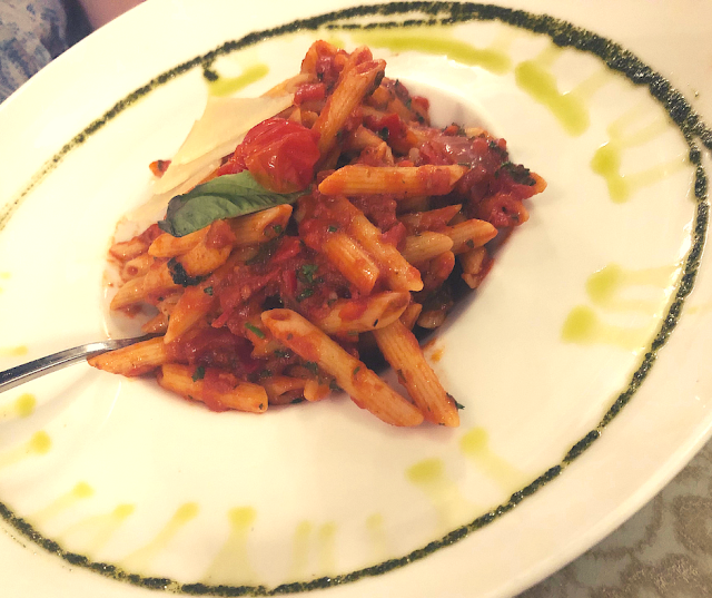 Penne Arriabiata at Shakespeare and Co in Lexington, Kentucky