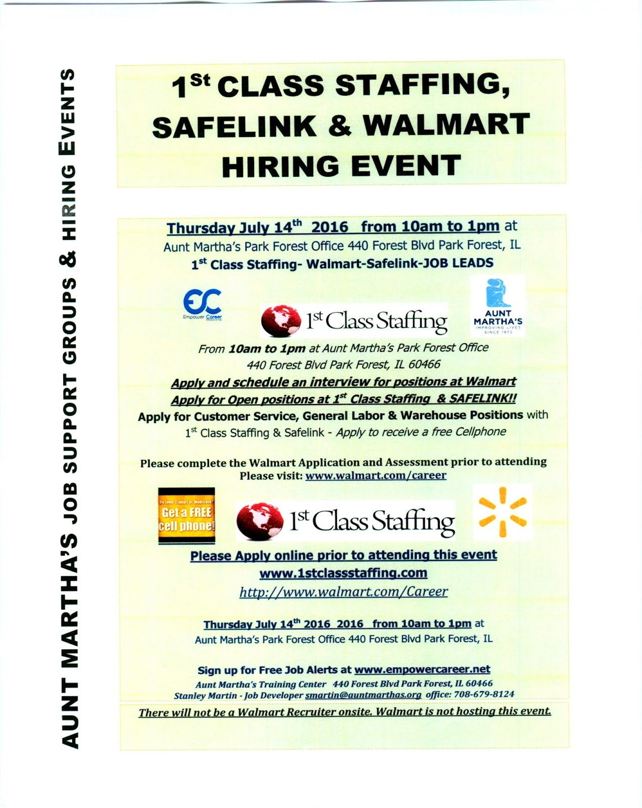 stan martin career blog  there will not be a walmart recruiter onsite walmart is not hosting this event
