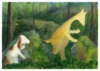 Postcard illustration of Hulmu Hukka and Haukku Spaniel playing in forest