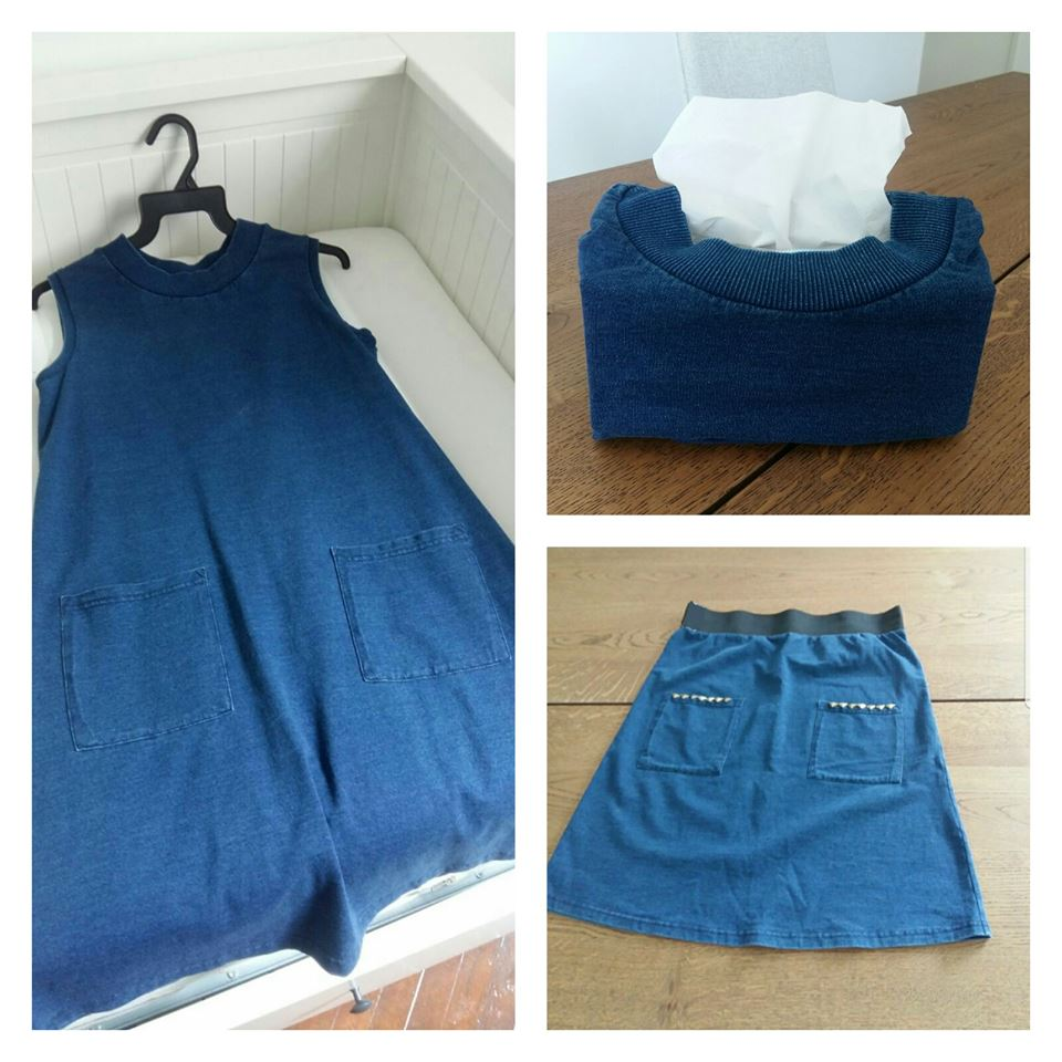 Upcycling a dress to a skirt and tissue box holder