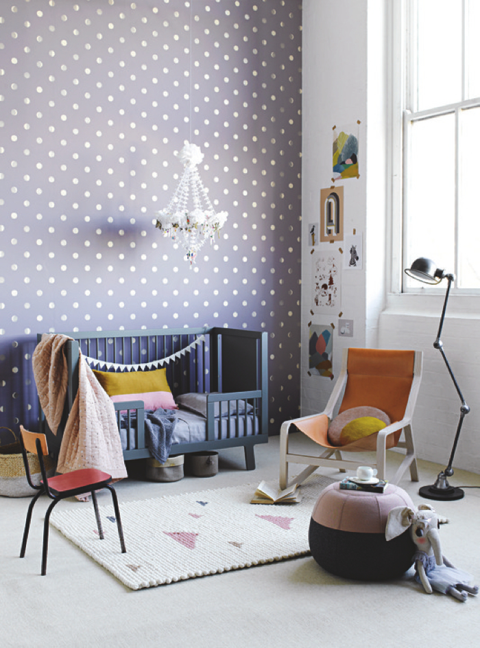 dots wallpaper in nursery room