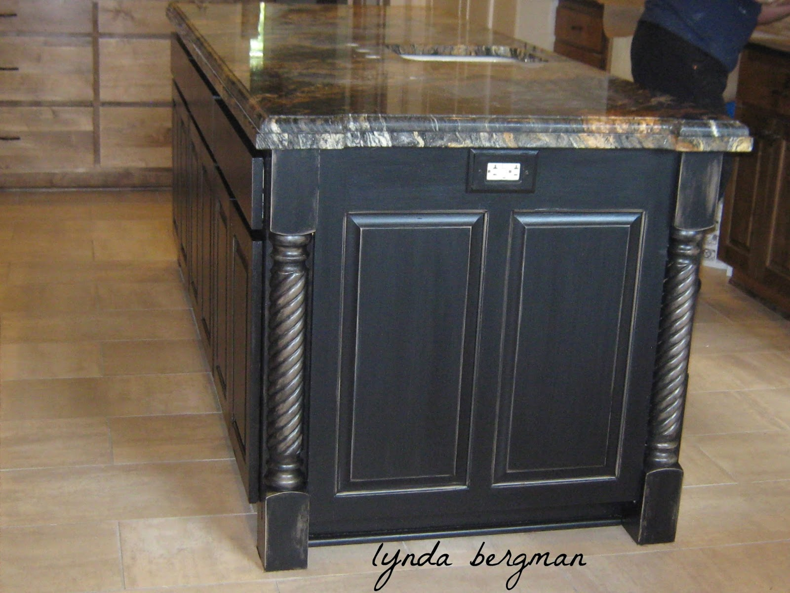 Lynda Bergman Decorative Artisan Painting Veronica S Kitchen Island Wine Cabinet To A Black Distressed Finish Her New Black Copper Stove Vent Hood