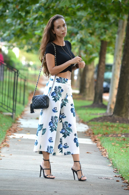 Floral Print Culottes black knot front crop top forever 21 black heels vintage chanel camera bag with tassel