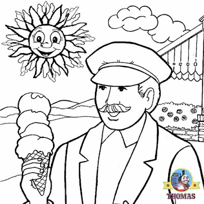 Simple art cute Thomas tank the engine steam train driver coloring Island of Sodor pictures to color