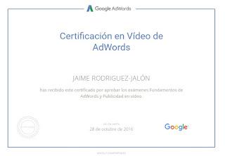 Certificado Jaime Rodríguez Jalón y Olea Google AdWords Vídeo