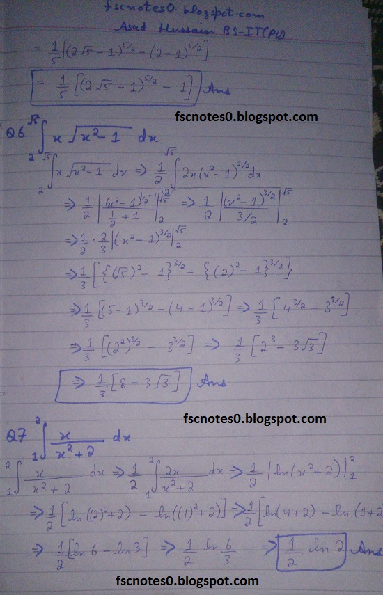 FSc ICS Notes Math Part 2 Chapter 3 Integration Exercise 3.6 question 1 - 9 by Asad Hussain 2