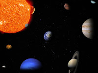 An illustration of the major bodies of the solar system. Not to scale or arranged based on real positions.