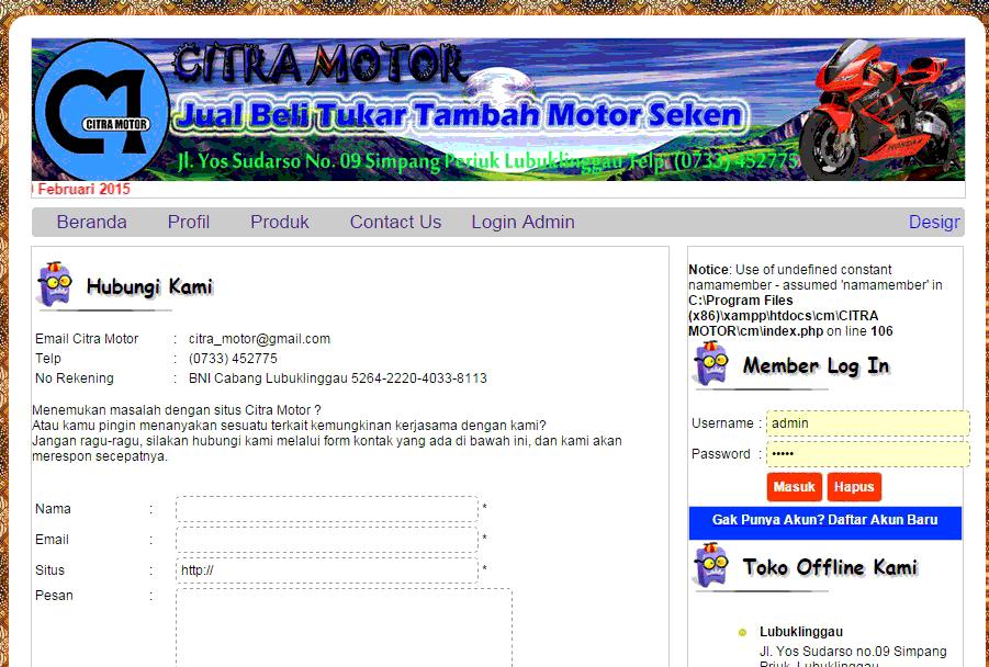 Screenshot 8 - Aplikasi Web Untuk Showroom Kendaraan Beroda Empat Motor Seken