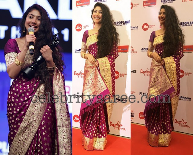 Sai Pallavi Purple Benaras Silk Saree
