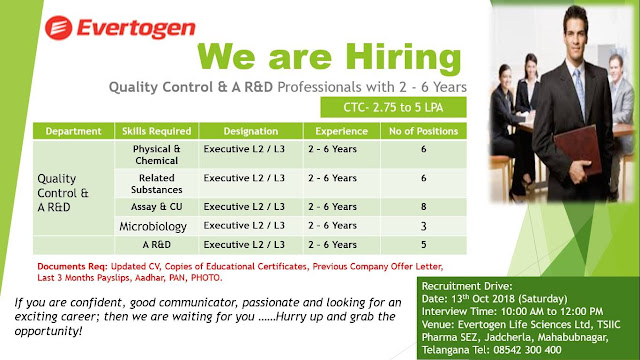 Evertogen Life Walk in Interview for Quality Control, AR&D and Microbiology (Total 28 Positions) at 13 October