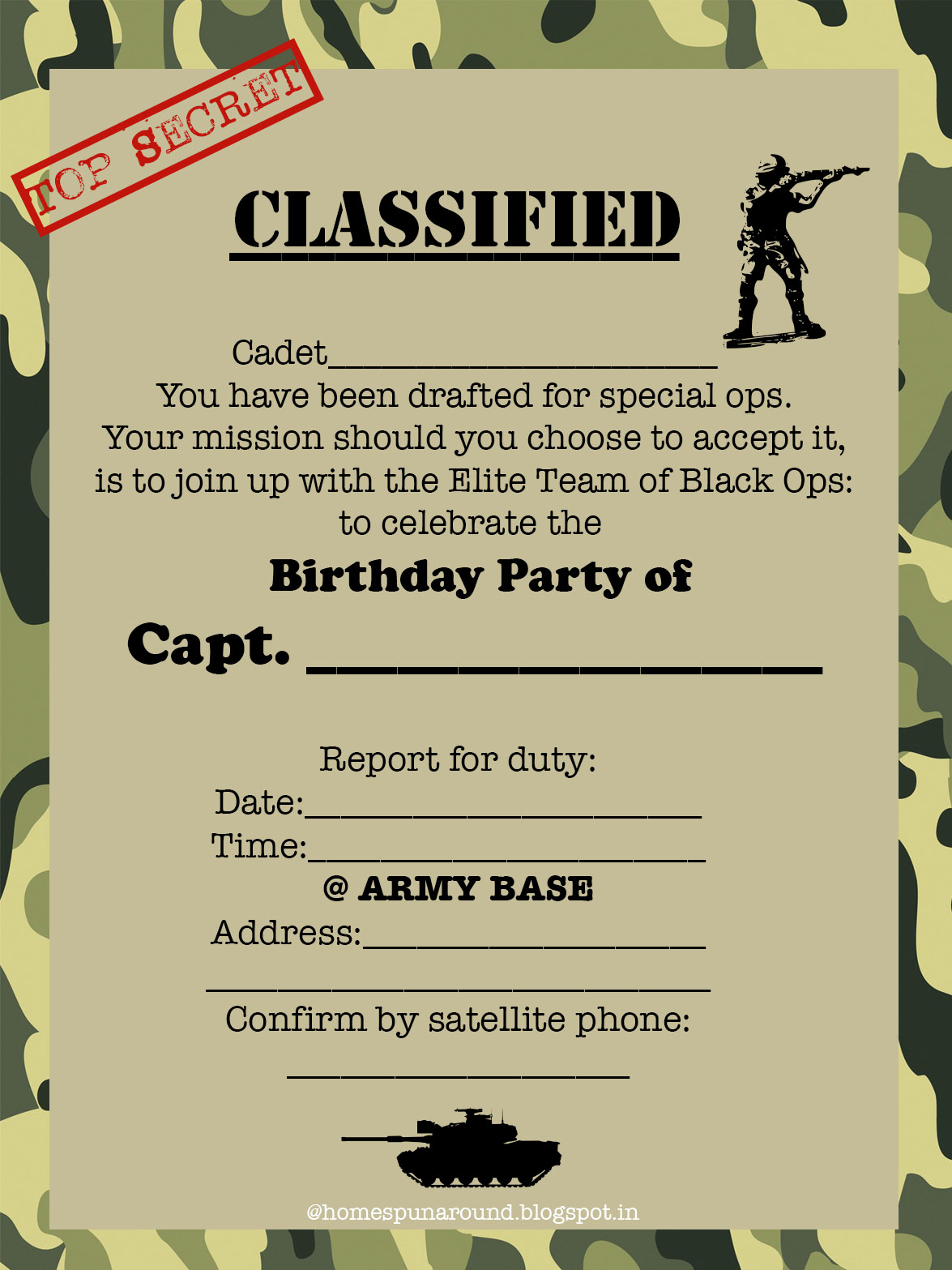Home-Spun-Around: An Army Themed Birthday Party with Free Printables!