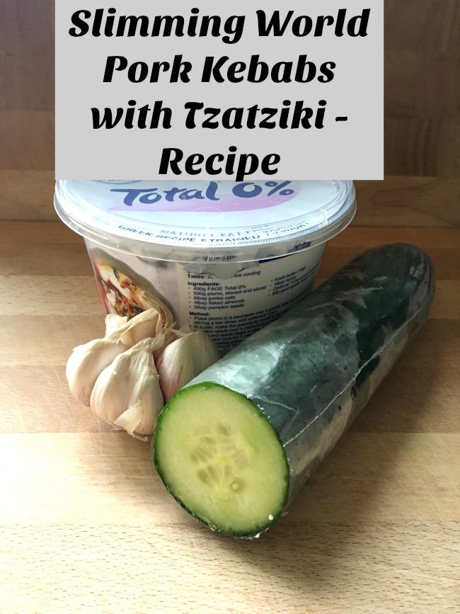 Slimmimg-world-pork-kebab-with-Tzatziki-recipe-text-over-image-of-yoghurt-garlic-and-cucumber