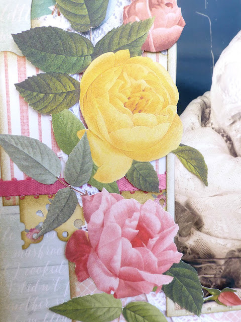 shabby vintage country scrapbooking layout close-up on fussy cut roses