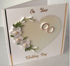 White color handmade quilling wedding card invitation designs - quillingpaperdesigns