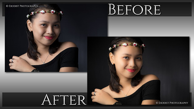 Rembrandt Portrait Lighting Photo Retouching - Before & After - © Exodist Photography, All Rights Reserved