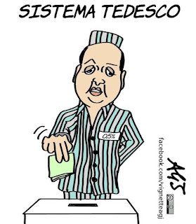 legge elettorale, elezioni, alfano, sistema tedesco, soglia di sbarramento, 5%, vignetta, satira